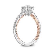 ArtCarved 1/2 ct. tw. Diamond Accented Round Center Semi-Mount Engagement Ring with Filigree Carved Band Accent in 14K Two-Tone Gold -31-V911ERWR