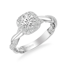 ArtCarved 1/2 ct. tw. Diamond Halo Accented Round Center Semi-Mount Engagement Ring with Twisted & Carved Band Accent in 14K White Gold - 31-V933DRWW