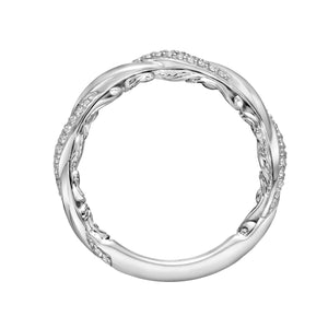 ArtCarved 1/4 ct. tw. Diamond Twisted Wedding Band with Carved Detailing in 14K White Gold - 31-V933WW