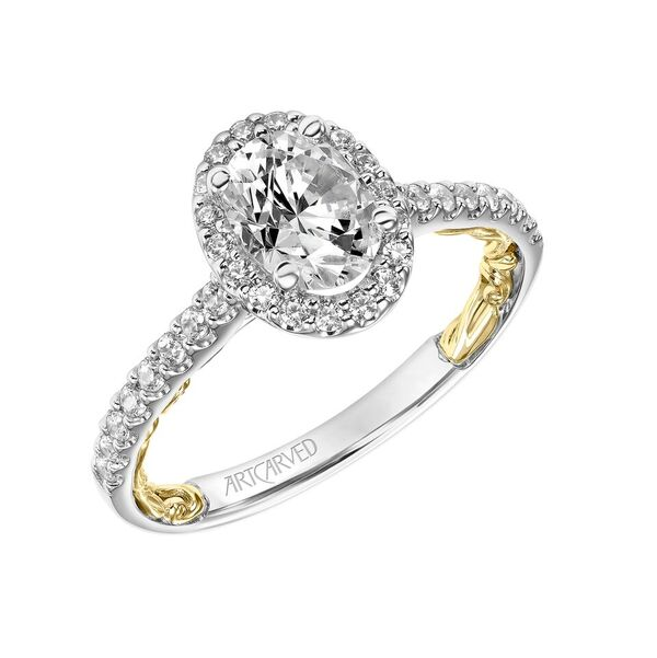 ArtCarved Lyric Collection 3/8 ct. tw. Diamond Halo Accented Classic Oval Center Engagement Ring with Filigree Carved Band Detailing in 14K Two-Tone Gold - 31-V928EVWY