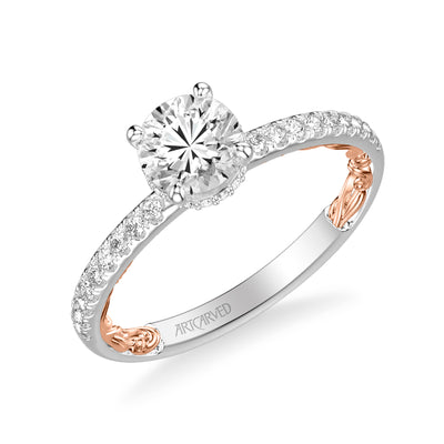 ArtCarved 3/8 ct. tw. Diamond Hidden Halo Accented Classic Round Center Engagement Ring with Filigree Carved Band Detailing in 14K Two-Tone Gold - 31-V963EPWR