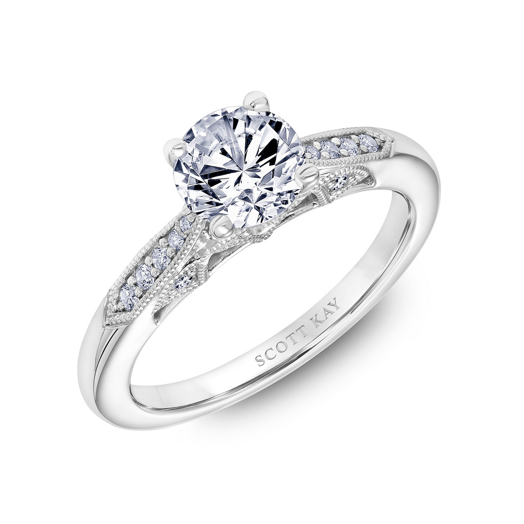 Scott Kay Heaven's Gates Collection Round Solitaire Style Semi-Mount Engagement Ring with 1/7 ct. tw. Diamond Gallery Arches & Milgrain Detailing in 14K White Gold - 31-SK5816DRW