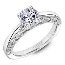 Scott Kay Heaven's Gates Collection Round Solitaire Style Semi-Mount Engagement Ring with 1/7 ct. tw. Diamond Gallery Arches & Milgrain Detailing in 14K White Gold - 31-SK5668ERW