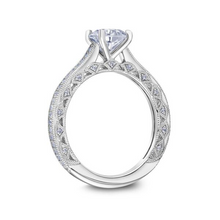 Scott Kay Heaven's Gates Collection Round Center Semi-Mount Engagement Ring with 1/4 ct. tw. Diamond Band & Arches with Milgrain Edging in 14K White Gold- 31-SK5829ERW