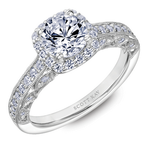 Scott Kay Heaven's Gates Collection Round Center Semi-Mount Engagement Ring with 1/2 ct. tw. Diamond Square Shaped Halo & Milgrain Edging in 14K White Gold - 31-SK5665ERW