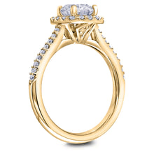 Scott Kay Luminaire Collection Round Center Semi-Mount Engagement Ring with 1/3 ct. tw. Diamond Square Shaped Halo & Band in 14K Yellow Gold - 31-SK5787ERY