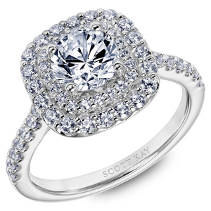 Scott Kay Luminaire Collection Round Center Semi-Mount Engagement Ring with 3/4 ct. tw. Diamond Double Halo in 14K White Gold - 31-SK5784DRW