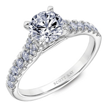 Scott Kay Luminaire Collection Round Center Semi-Mount Engagement Ring with 1/3 ct. tw. Diamond Band in 14K White Gold - 31-SK8053GRW
