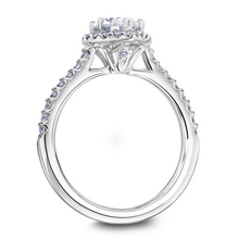 Scott Kay Luminaire Collection Pear-Shaped Center Semi-Mount Engagement Ring with 1/2 ct. tw. Diamond Halo & Shank in 14K White Gold - 31-SK5786EPW
