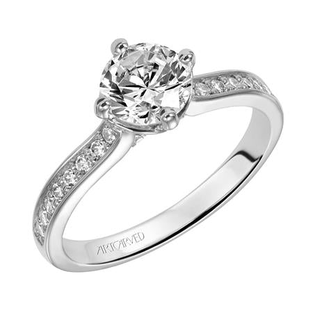 ArtCarved 1/3 ct. tw. Diamond Accented Round Center Semi-Mount Engagement Ring in 14K White Gold -31-V313CRW-E.01