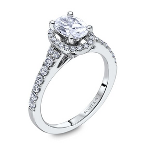 Scott Kay Luminaire Collection Oval Center Semi-Mount Engagement Ring with 1/2 ct. tw. Diamond Halo & Shank in 14K White Gold - 31-SK8069DVE