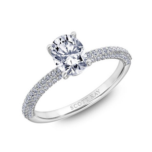Scott Kay Luminaire Collection Oval Center Semi-Mount Engagement Ring with 1/3 ct. tw. Diamond Prong-Set Band in 14K White Gold - 31-SK5857EVW