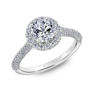 Scott Kay Luminaire Collection Round Center Semi-Mount Engagement Ring with 1/2 ct. tw. Diamond Halo & Band in 14K White Gold - 31-SK5874ERW