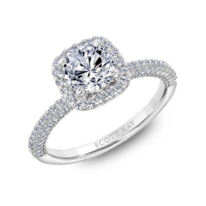 Scott Kay Luminaire Collection Round Center Semi-Mount Engagement Ring with 3/8 ct. tw. Diamond Square Shaped Halo & Band in 14K White Gold - 31-SK5873DRR