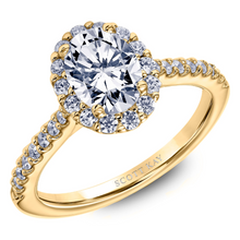 Scott Kay Luminaire Collection Oval Center Semi-Mount Engagement Ring with 1/2 ct. tw. Diamond Halo & Shank in 14K Yellow Gold - 31-SK5802EVY