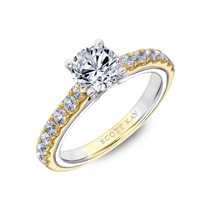 Scott Kay Namaste Collection Round Center Semi-Mount Engagement Ring with 1/2 ct. tw. Diamond Shank in 14K Two-Tone Gold -31-SK5817GRY