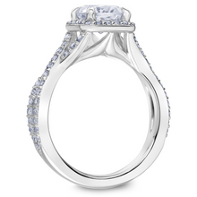 Scott Kay Namaste Collection Round Center Semi-Mount Engagement Ring with 1/2 ct. tw. Diamond Halo & Twisted Split-Shank Band in 14K White Gold -31-SK5636GRW