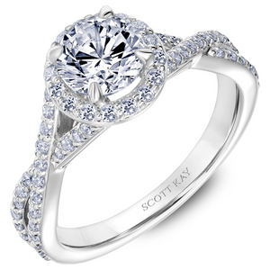 Scott Kay Namaste Collection Round Center Semi-Mount Engagement Ring with 1/2 ct. tw. Diamond Round Halo & Twisted Split-Shank Band in 14K White Gold-- SK-5637DRW