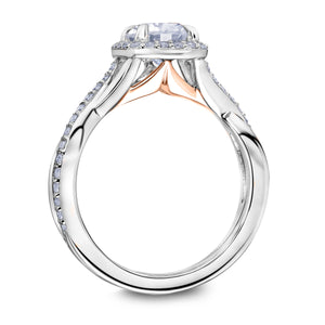 Scott Kay Namaste Collection Round Center Semi-Mount Engagement Ring with 1/3 ct. tw. Diamond Halo & Twisted Split-Shank Band in 14K White Gold - 31-SK5790ERWR