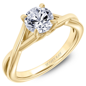 Scott Kay Namaste Collection Round Solitaire-Style Center Semi-Mount Engagement Ring with Twisted Split-Shank Band in 14K Yellow Gold - 31-SK5635DRY