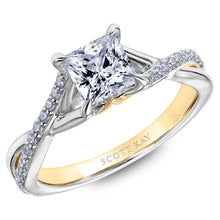 Scott Kay Namaste Collection Princess Cut Center Semi-Mount Engagement Ring with 1/5 ct. tw. Diamond Twisted Split-Shank Band in 14K Two-Tone Gold - SK5791ECWY