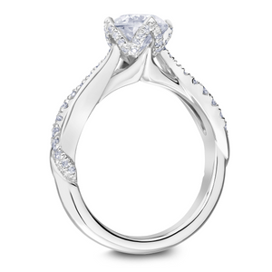 Scott Kay Namaste Collection Round Center Semi-Mount Engagement Ring with 1/3 ct. tw. Diamond Cathedral Inspired Setting & Twist Band in 14K White Gold -31-SK5631GRW