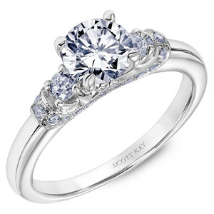 Scott Kay Crown Collection Round Center Semi-Mount Engagement Ring with 3/8 ct. tw. Diamond Wrap-Around Gallery in 14K White Gold - SK8055ERW