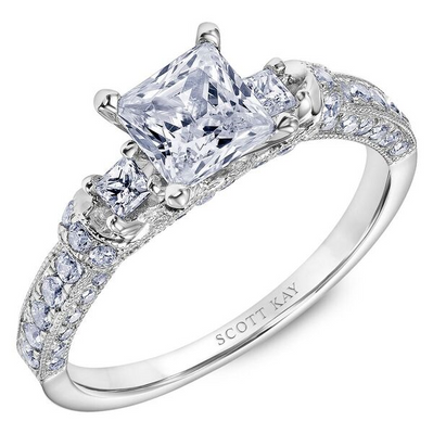 Scott Kay Crown Collection Princess Cut Center Semi-Mount Engagement Ring with 7/8 ct. tw. Diamond Wrap-Around Gallery & Milgrain Detailed Band in 14K White Gold - SK8066ECW