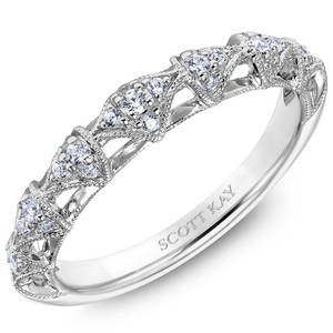 Scott Kay Luminaire Collection 1/5 ct. tw. Diamond Cathedral-Inspired Arches Wedding Band with Milgrain Detailing in 14K White Gold - 31-SK5187W