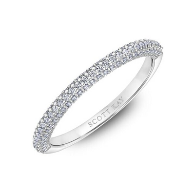 Scott Kay Luminaire Collection 1/3 ct. tw. Diamond Prong-Set Wedding Band with Milgrain Detailing in 14K White Gold - 31-SK5857-L
