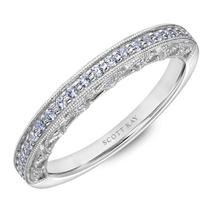 Scott Kay Heaven's Gates Collection 1/4 ct. tw. Diamond Wedding Band with Open-Arches & Milgrain Edging in 14K White Gold - 31-SK5663W