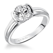 ArtCarved Round Bezel-Set Center Semi-Mount Engagement Ring with Pave Diamond Undercarriage in Platinum - 31-V163ERP-8