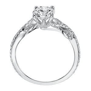 ArtCarved 1/5 ct. tw. Diamond Accented Round Stone Semi-Mount Engagement Ring with Floral Inspired Band in 14K White Gold -  31-V523CRW