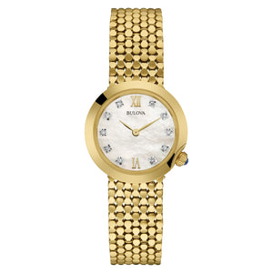 Bulova Maiden Lane Collection Ladies' White Mother-of-Pearl Watch with Diamond Hour Markers in Gold-Tone Stainless Steel - 97P114-L-BULO