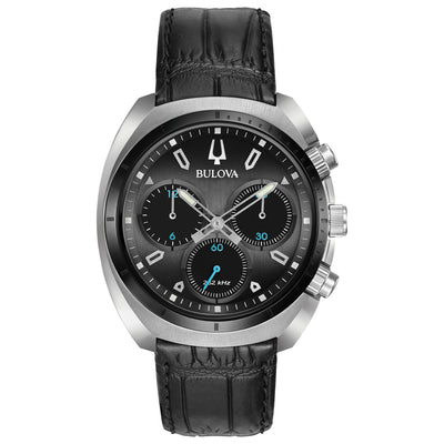 Bulova CURV Collection Men's Dark Grey Chronograph Watch in Stainless Steel Case with Matte Black Alligator Grain Leather Strap - 98A155