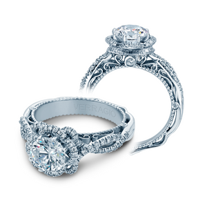 VERRAGIO 3/8 CT. TW. DIAMOND FLOWER INSPIRED HALO ROUND SEMI-MOUNT ENGAGEMENT RING IN 18K WHITE GOLD - AFN-5051R