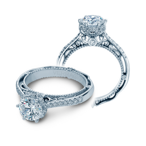 VERRAGIO 1/3 CT. TW. DIAMOND BAND SEMI-MOUNT ENGAGEMENT RING WITH FILIGREE & MILGRAIN DETAILING IN 18K WHITE GOLD - AFN-5052