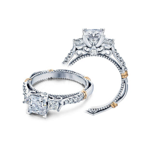 VERRAGIO 3/8 CT. TW. 2 STONE DIAMOND ACCENT BAND PRINCESS CUT SEMI-MOUNT ENGAGEMENT RING IN 14K WHITE & PINK GOLD - D-124P
