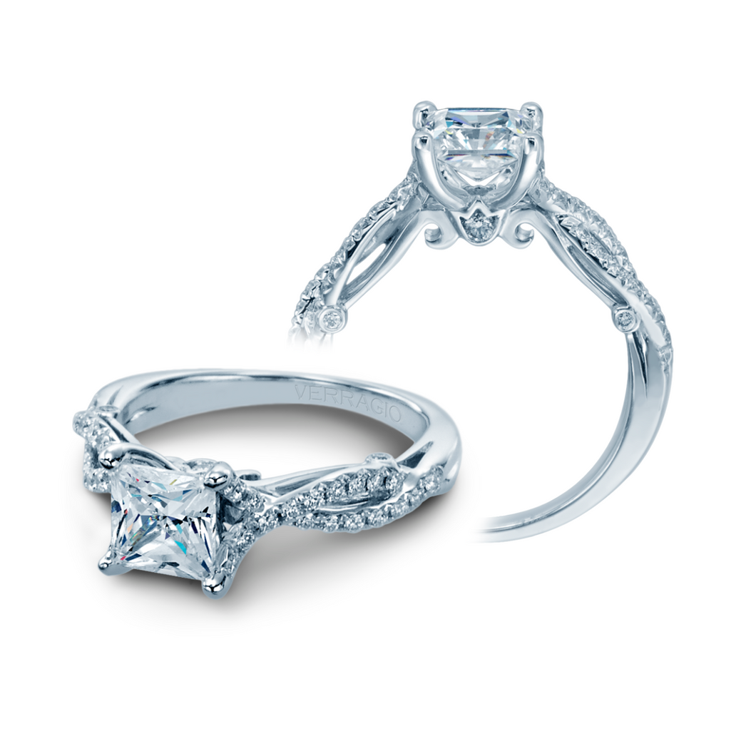 VERRAGIO 3/8 CT. TW. DIAMOND TWISTED BAND SEMI-MOUNT ENGAGEMENT RING IN 18K WHITE GOLD - INS-7050W