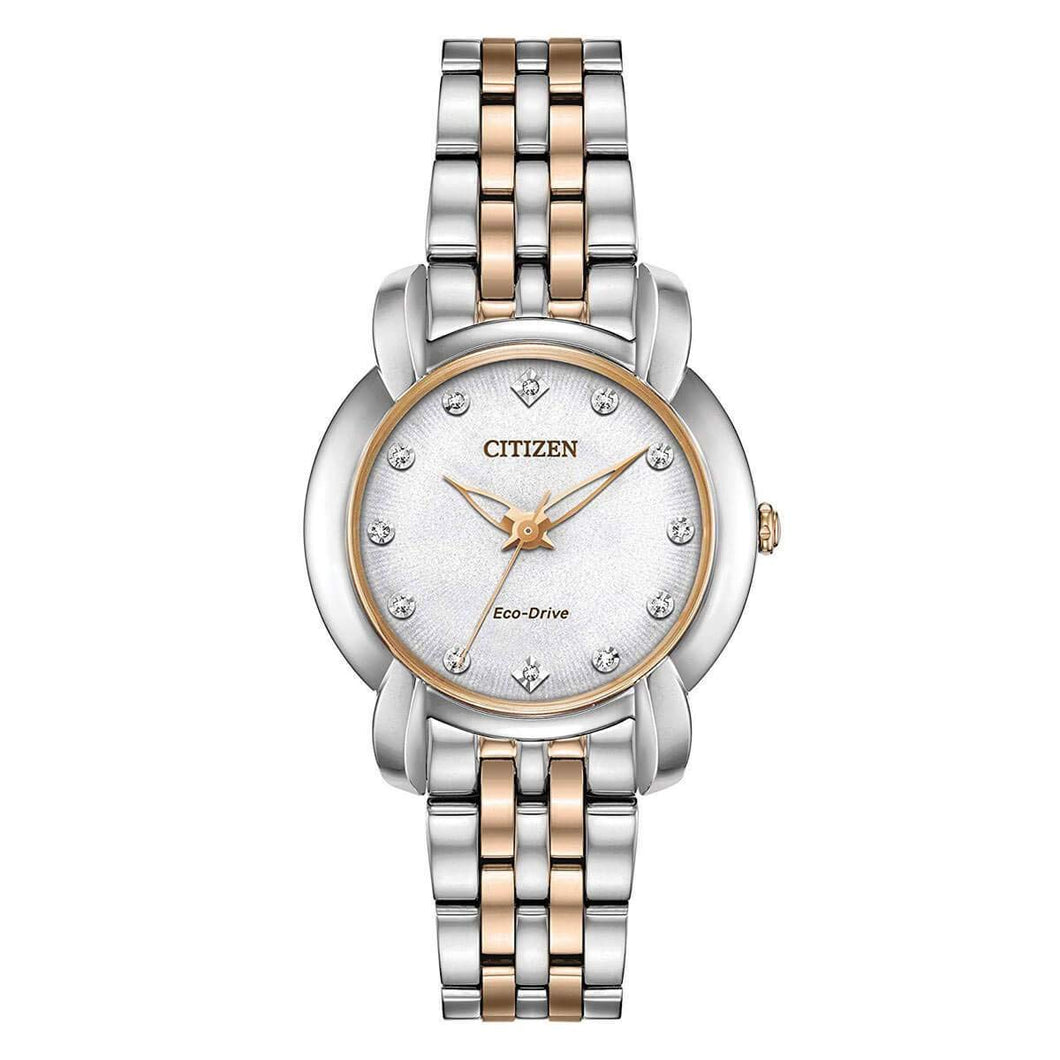 Citizen Ladies' Jolie 1950's Inspired Design Eco-Drive Watch in Two-Tone Stainless Steel - EM0716-58A