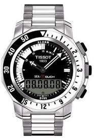 Tissot Sea-Touch 44MM Case Watch with Black & White Dial in Stainless Steel - T0264201103101