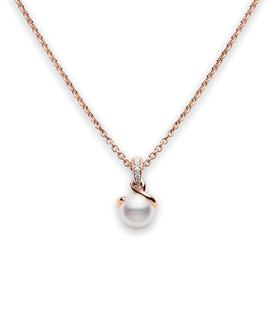 Mikimoto Twisted 8mm Akoya Cultured Pearl Pendant in 18k Rose Gold