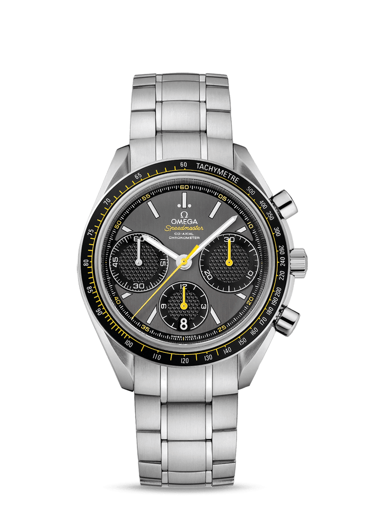 OMEGA Stainless Steel Grey Racing Yellow Accents Speedmaster Co-Axial Watch 40mm