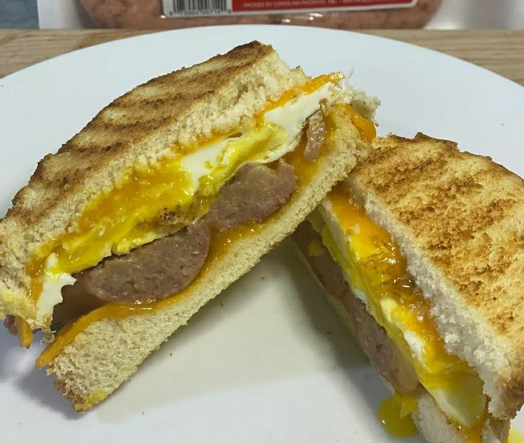 Bright Leaf Recipes: Country Style Sausage, Egg & Cheese Sandwich