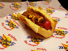 Bright Leaf Hot Dog with just chili and mustard