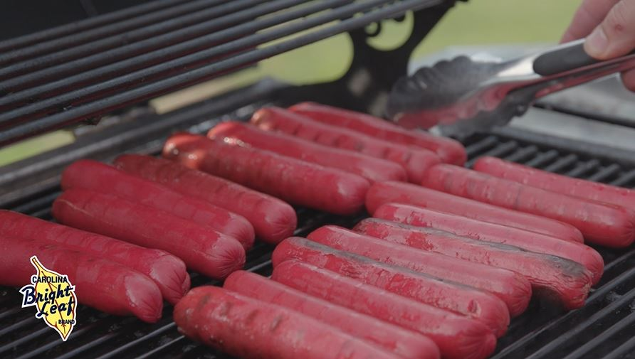 Grilling Bright Leaf Hot Dogs