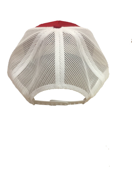 RED/ WHITE MESH SNAPBACK HAT