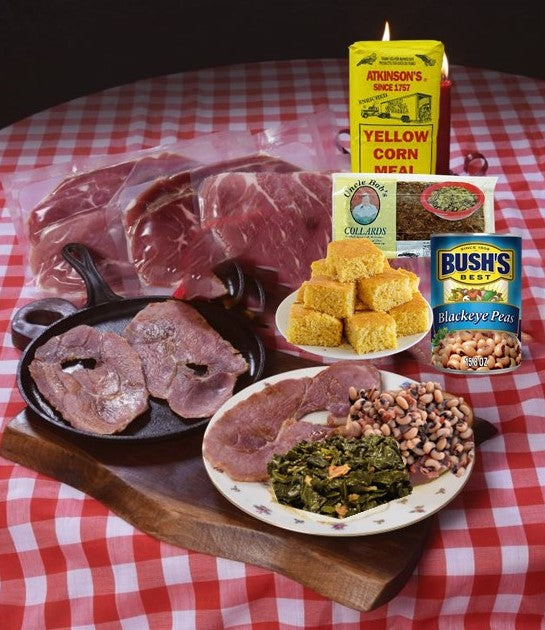 The Bright Leaf New Year's Tradition Carolina Curemaster Country Ham Sampler (2-CENTERS, 1- BISCUIT SLICE, 1-CORNMEAL MIX, 1-24OZ BAG OF UNCLE BOBS COLLARDS, 1- CAN OF BLACKEYED PEAS)