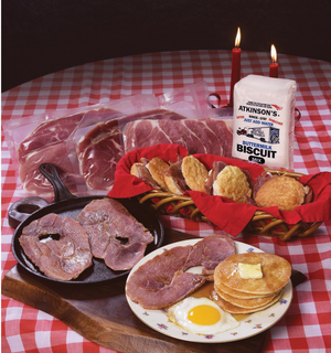 The Bright Leaf Holiday Carolina Curemaster Country Ham Sampler (2-CENTERS, 1- BISCUIT SLICE, 1-BISCUIT MIX)