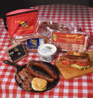The Bright Leaf Holiday Smokehouse Sampler (1-Smokehouse Franks, 1-Loop Smoked Sausage, 1-Bacon, 1-BBQ, 1-Center Cut Ham Slices